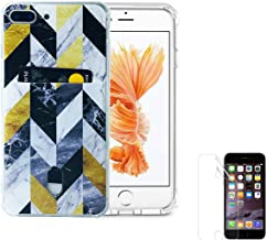 Wallet Slim Case Compatible for iPhone 8 Plus/7 Plus(5.5 inch) with Card Holder Slot Gold Black White Marble Chevron Thin Soft TPU Clear Cover with Screen Protector