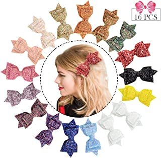 5 Inch Glitter Hair Bows Large Boutique Hair Clips 16pcs Large Sequins Hair Accessories for Baby Girls women Toddlers