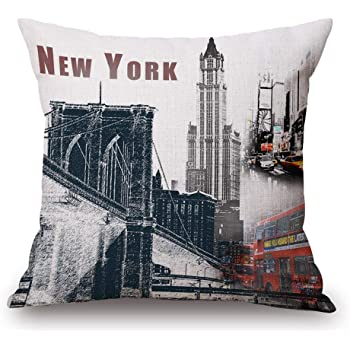 Dark Blue Pale Blue Violet Lunarable New York Throw Pillow Cushion Cover 16 X 16 Inches Decorative Square Accent Pillow Case Skyline of NYC Manhattan Brooklyn Bronx Queens Scratched Pattern