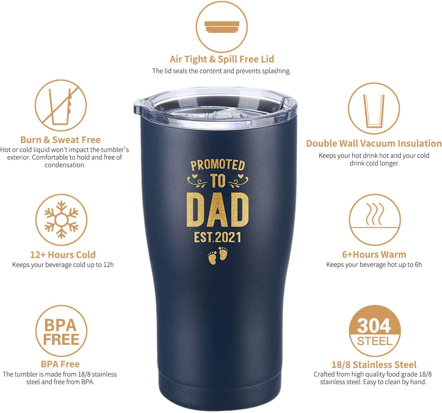 Black, 20 Oz Promoted to Dad Est 2021 Tumbler New Dad Gifts Ideas Dads to be Present First Time Dad Dad to Be Daddy w//Newborn Expecting Father Presents