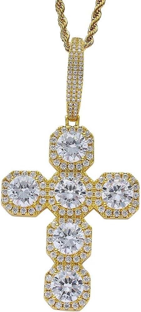 Hyjmjj collana in acciaio inossidabile e pendente in zirconi e oro e rame placcato in argento CR1013-MV25;AU;585;G;120;50;C;