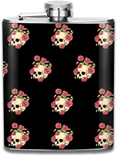 FGRYGF Skull Poppies Frasco de Acero Inoxidable Classic 7OZ Hip Flask Flat Liquor Flask Whiskey Wine Flagon Mug