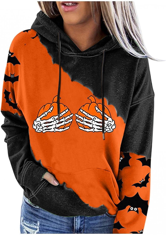 ORT Hoodies for Womens Halloween Pumpkin Printed Sweatshirts Casual Long Sleeve Pullover Shirts Loose Lightweight Tops