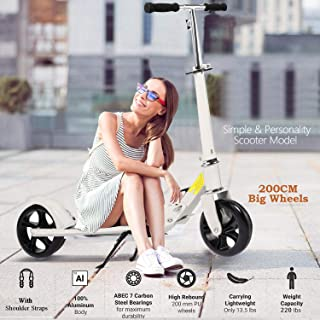 OppsDecor Adult Scooter with 3 Seconds Easy-Folding System 200mm Big Wheels Teens Commuter Scooter, 220lbs Adjustable City Scooter Age 8 Up