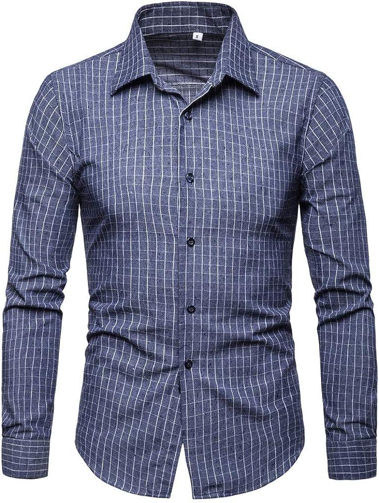 MODOQO Men's Button Down Stripe Casual Slim Fit Long Sleeve Dress Shirt