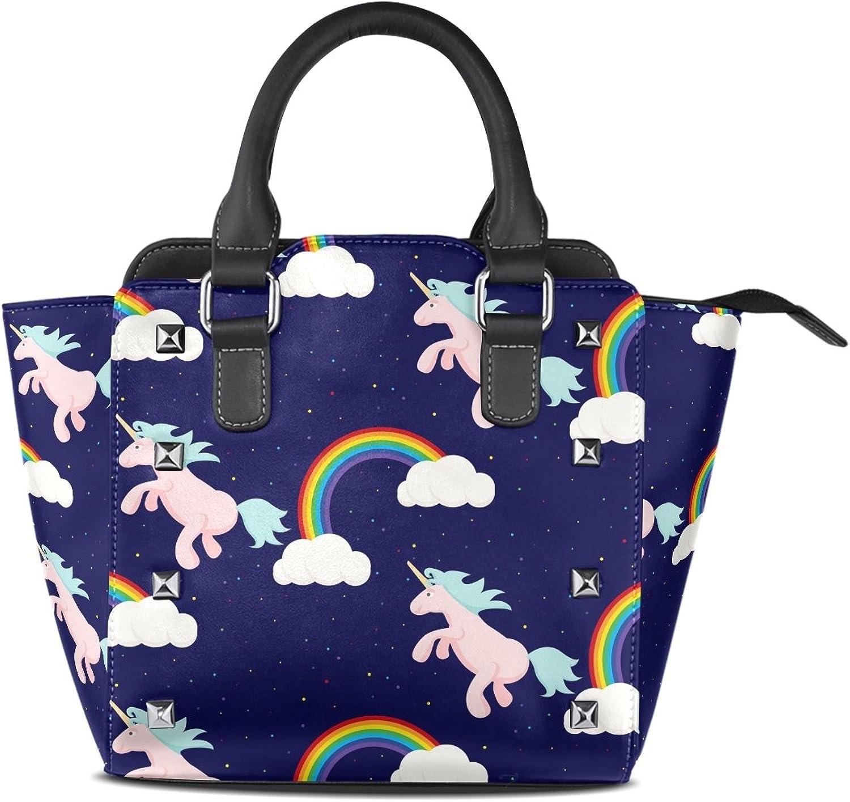 Sunlome Cute Unicorn Rainbow Print Handbags Women's PU Leather Top-Handle Shoulder Bags