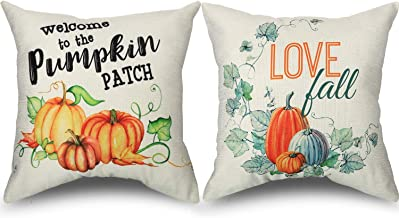 2 Pieces Halloween Pillow Covers Cotton Linen Skeleton and Pumpkin Pattern Throw Pillow Case Decorative Cushion Cover, 18 by 18 Inches (Pumpkin Pattern)