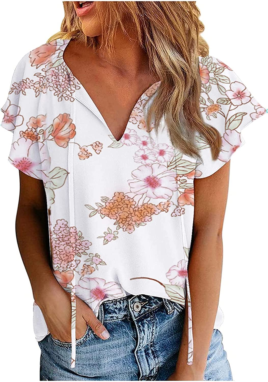 Women Summer Tops Women T-Shirt Casual Stylish Printing V-Neck Loose Chiffon
