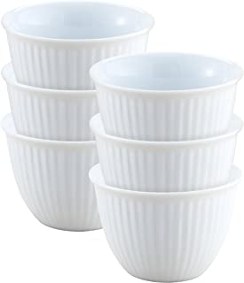 HIC Harold Import Co. NT-72 Ribbed Custard Cups, Fine White Porcelain, 5-Ounce, Set of 6