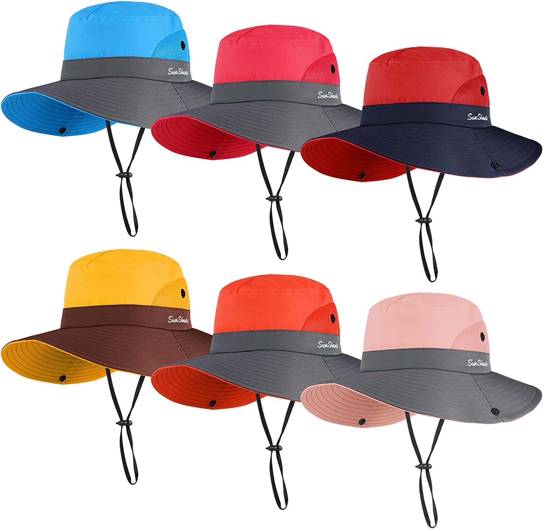 6 Pieces Women Wide Brim Sun Hat Outdoor UV Protection Hat Summer Foldable Mesh Beach Fishing Cap