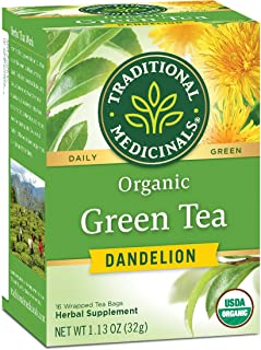 Traditional Medicinals Organic Green Tea Dandelion Tea, Supports Healthy Liver Function, 96 Tea Bag Total (Pack of 6)