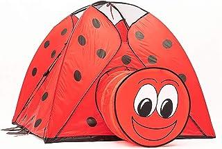 tents Röd nyckelpiga lek, utomhus och inomhus lekstuga för barn förskola med lektunnel lätt lekhus (storlek: 118 x 118 x 9...