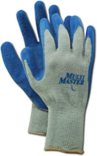 MAGID MultiMaster 9529 Cotton/Polyester Glove, Blue Latex Palm Coating, Knit Wrist Cuff, 9.5