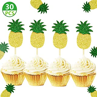30 Pcs JeVenis Glitter Green Hawaiian Party Pineapple Cupcake Toppers Picks Donut Toppers for Luau Bridal Shower Tropical Summer Party Cake Decoration