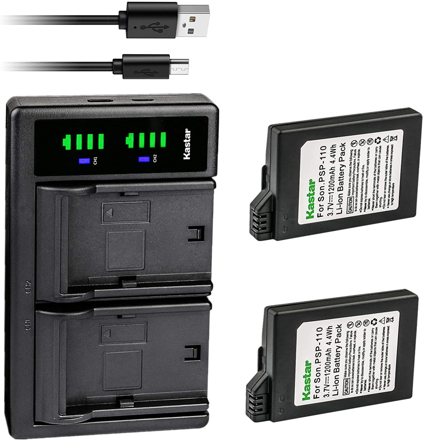 2021 Kastar 2-Pack PSP 110 Battery and Replacement USB LTD2 Charger Raleigh Mall f