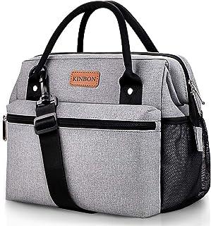 کیسه ناهار KINBON عایق جعبه ناهار برای خانمها ، کیف ناهار قابل استفاده مجدد با بند شانه قابل تنظیم ، ضد آب ضد آب ضد آب
