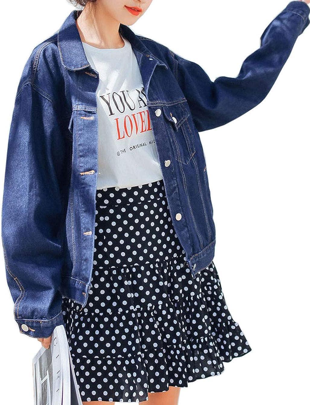 Flygo Women's Oversized Baggy Boyfriend BF Denim Jean Jacket Coat Long Sleeve Big Pockets