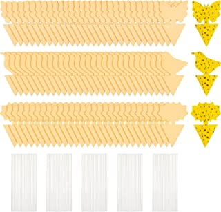 190 Pieces Sticky Bugs Device Yellow Fruit Sticky Device, Include 90 Sticky Equipment and 100 Wires for Flying Plant Captu...