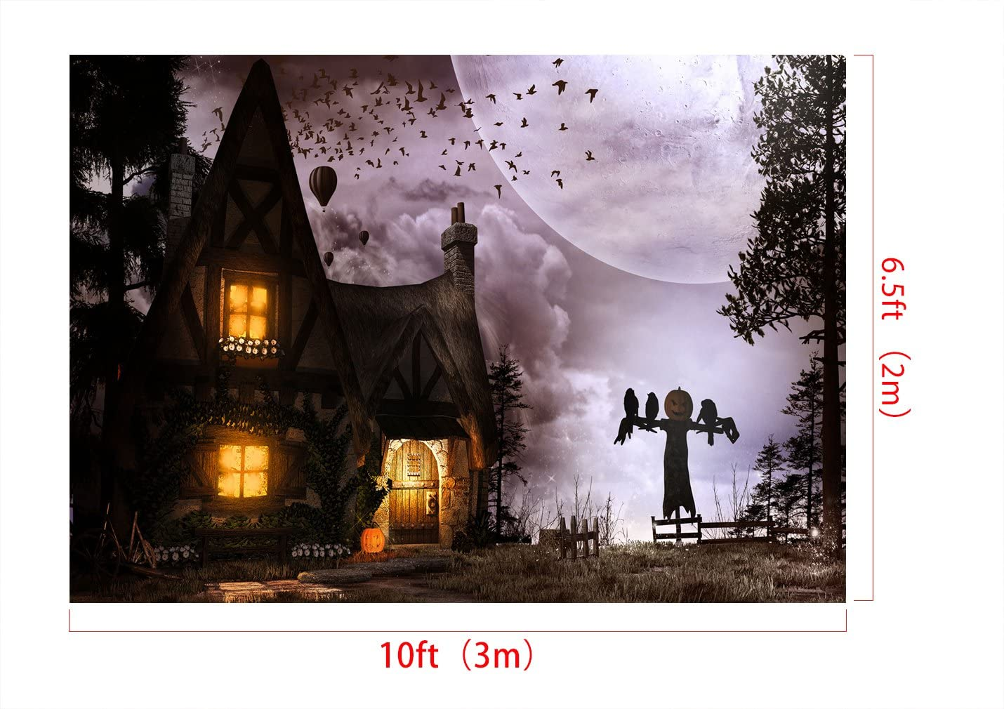 x5ft Kate7ft Halloween Photography Backdrop with Scarecrow Pumpkin and Small Cotage Bats Background Cotton Cloth Photo Booth Props Background for Halloween H W