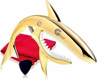 Phoenix sya-kukapo Shark Capo 一键式吉他卡普斯流苏护理 纤维十字架 0.71 毫米泪珠型拨片*制造商保修 4 件套。 Fork Electric Acoustic Gold Gold 金