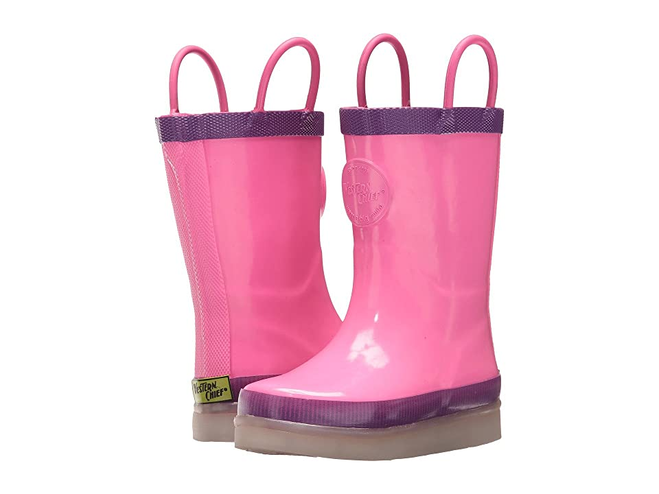 Western Chief Kids LED Lighted Rain Boots (Toddler/Little Kid/Big Kid) (Pink) Boys Shoes