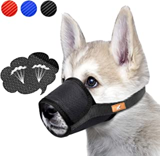 Dog Muzzle Mesh Mask Stop Biting, Barking and Chewing, Cover with Hook & Loop for Dogs, Adjustable, Breathable (M,Black)
