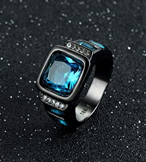 Opal Jewelry Mans Size 7-11 Black Gold Filled Blue Sapphire Wedding Engagement Ring Gift (10)