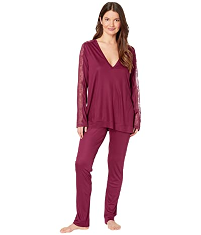La Perla Bianca Long Pajama Set (Cranberry) Women
