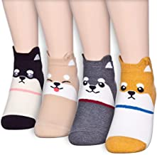 Funny Various Cats Dogs Animal Character Crew Quarter Sneakers Ankle Socks for Gift