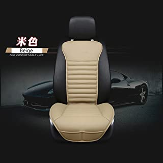 EDEALYN New Universal car seat Cover PU Leather + Bamboo Charcoal Car Seat Cushion Car seat backrest pad for Driver seat - Car Interior Accessories,1 PCS (Beige-B)
