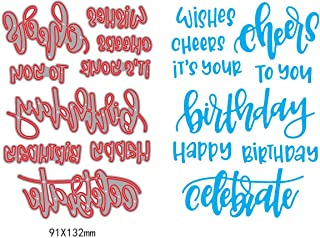 1set Wishes Cheers Sentiment Dies Cuttings+ Clear Stamp Metal Scrapbooking Stencils Die for DIY Embossing Photo Album Decorative DIY Paper Cards Making Craft