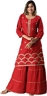 MOHPAASH Women's Red Rayon Embroidered Garrara sharara Set