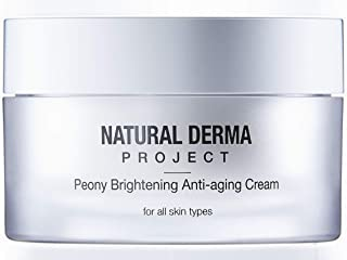 Natural Derma Project Peony Brightening Anti-Aging Cream, 1.7 Fluid Ounces, Anti-wrinkle, Smooth and Bright Complexion, Tone Correction