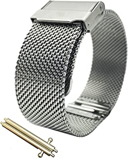 LEESTING Quick Release Milanese Mesh Watch Band Replacement with Polished 316L Stainless Steel Finish, Brushed Deployment Clasp 16mm 18mm 20mm Silver for Mens Women