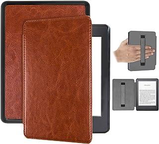 Capa Kindle Paperwhite 10ª geração à prova d'água – Auto Hibernação – Fecho Magnético – Alça leitura - Marrom