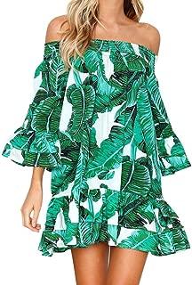 Women Casual Off The Shoulder Green Leaf Print Summer Beach Short Ruffle Mini Dress Sundress