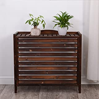WSSF- Anti-Corrosion Carbonized Wooden Flower Rack Gardening Workstation Storage Flower Pot Shelf Plant Radiator Cover Display Stand Solid Wood Outside Air Conditioner Cover (Size : 863580cm)