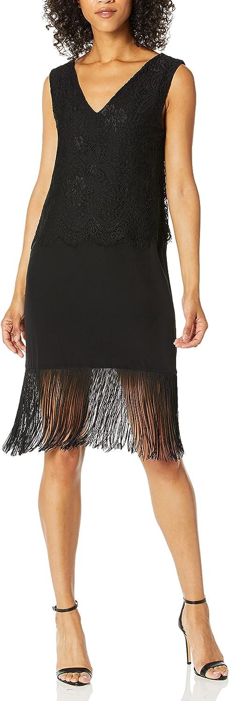 Nicole Miller Women's Fringe & Lace Shift Dress