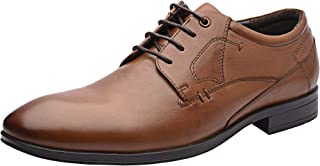 Allonsi Leonard Stylish Black Formal Men Genuine Leather Shoes, Cut Plain Oxford Lace Up Classy Smooth Front Finish Shoes with Low Heels and Rubber Sole