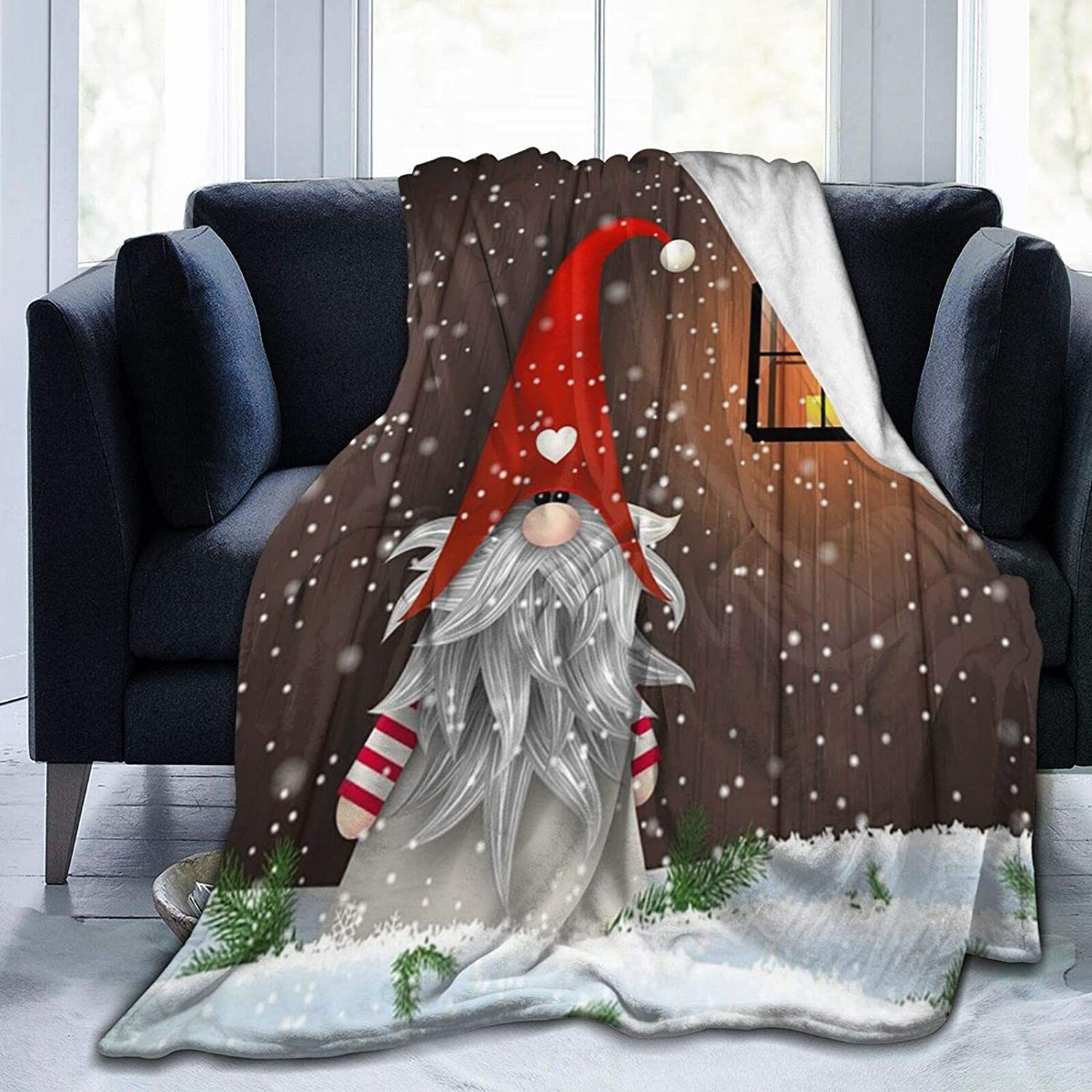 Christmas Folklore Elves quality assurance Cute Gnome Throw Fleece NEW Blanket Flannel