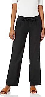 Women's Linen Blend Drawstring Wide Leg Pant