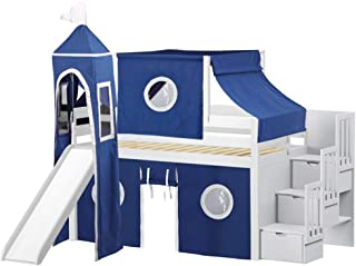JACKPOT! JP-ST Blue-White Loft Bed, Twin