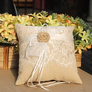 AmaJOY Cojín de anillo de boda yute hechas a mano con Flores arpillera 19 cm * 19 cm