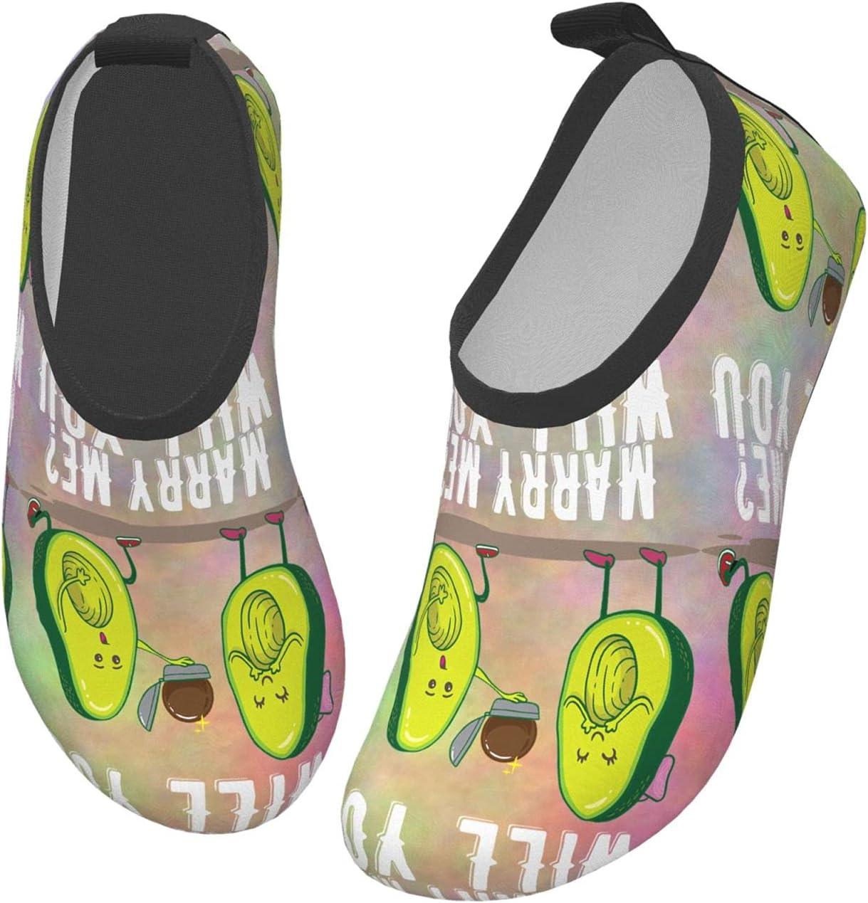 wobzfrok Will You Marry Me Avocado Kids Water Shoes Girls Boys Toddler Non-Slip Quick Dry Aqua Socks for Beach Swim Walking 34/35