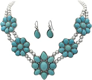 Gypsy Jewels Simulated Turquoise Silver Tone Western Southwestern Look Necklace & Dangle Earring Set