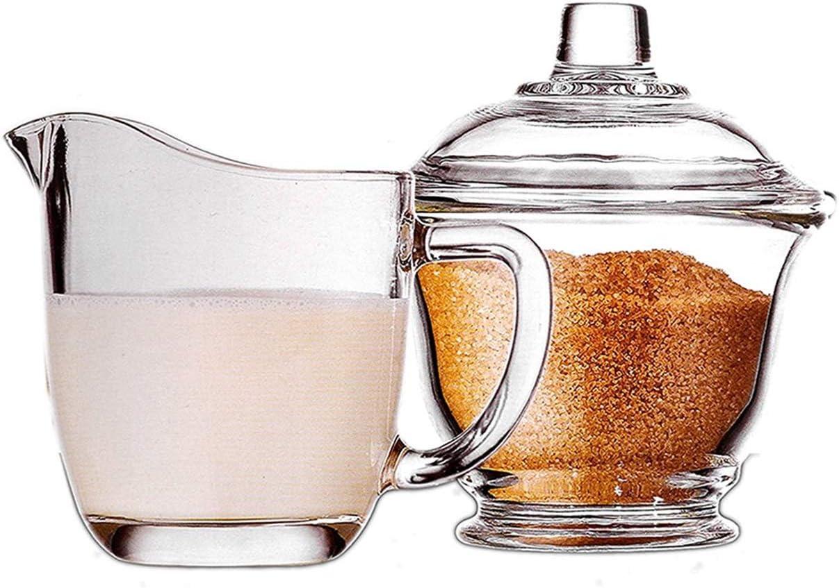 Creamer Pitcher Glass Sugar and Creamer Coffee Set Kit Transpare
