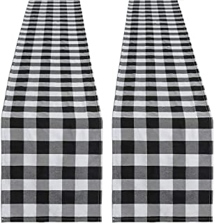 SoarDream 2 Piece 13 x 108 Inch Buffalo Check Table Runner Wedding Table Runner Black and White Plaid Cotton Runner for Pa...