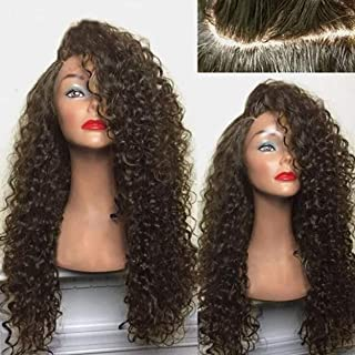 Women Lace Front Wig Brazilian Women Sexy Charming Virgin Human Hair Wavy Full Long Curly Water Black Lace Front Wigs Natural, Fluffy and Sexy Explosive Head Wig,Free Wig Cap (Light brown)