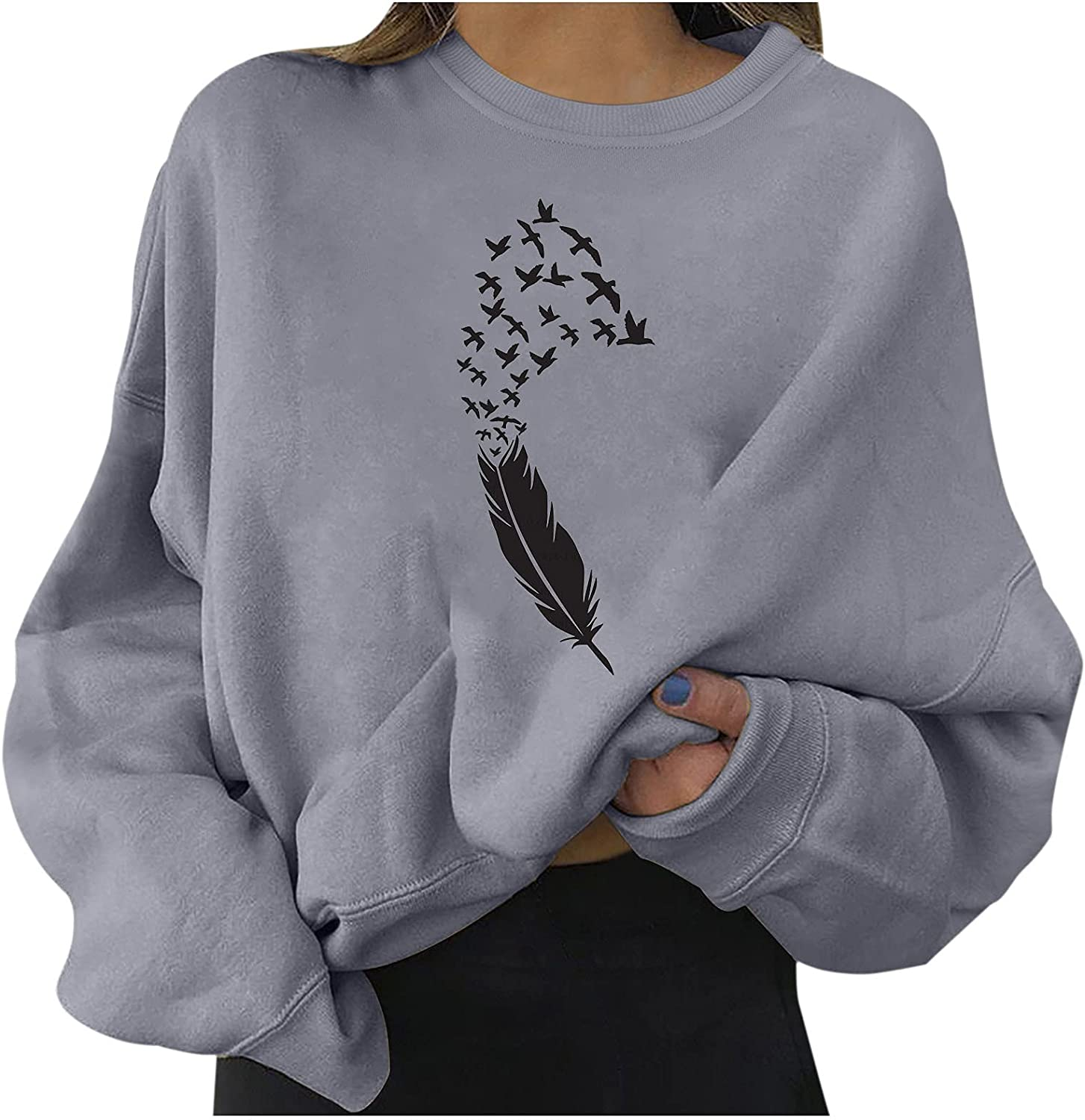 Xiangdanful Ladies Courier shipping free shipping Printed Casual Short Sweatshir Max 59% OFF Pullover Loose