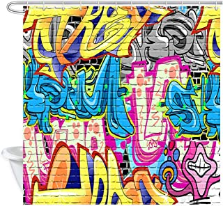 NYMB Creative Street Graffiti Shower Curtain, Rustic Graffiti on Wall Urban Street with Spray Hip Hop Art Bathroom Curtains, Psychedelic Fabric Shower Curtain with Curtain 12PCS Hooks
